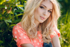 Summer portrait of a beautiful woman. Royalty Free Stock Images