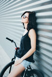 Summer portrait with bike Royalty Free Stock Photo