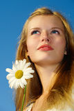 Summer portrait of blue-eyed blond girl Stock Photography