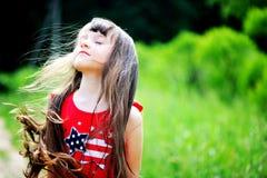 Summer portrait of brunette child girl Royalty Free Stock Photos