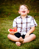 Summer portrait of  child eating watermelon Royalty Free Stock Photos