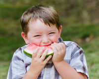 Summer portrait of cute young child eating watermelon Royalty Free Stock Image