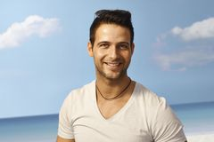 Summer portrait of handsome young man Stock Images