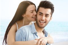 Summer portrait of happy loving couple Royalty Free Stock Photos