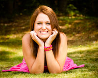Summer portrait of happy smiling pretty teenager Stock Photos