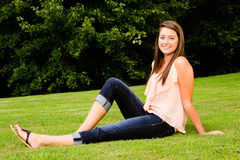 Summer portrait of happy smiling pretty teenager Stock Photo
