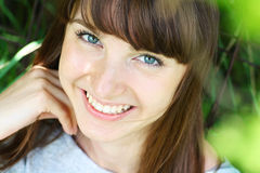 Summer portrait of happy young woman. Close up royalty free stock image