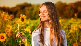 Summer portrait of happy young woman in hat with long hair in field enjoying nature. Summer portrait of happy young woman in hat with long hair in sunflower royalty free stock photos