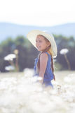 Summer portrait of a little girl in a field of white daisies. Stock Images