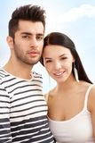 Summer portrait of loving couple. Summer portrait of young loving couple smiling outdoor Stock Photo