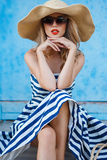 Summer Portrait Of A Woman In A Straw Hat Stock Photos