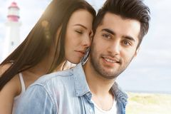 Summer portrait of romantic couple Stock Images