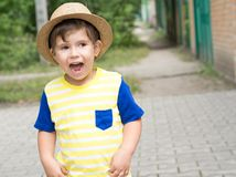 Summer portrait toddler boy in straw hat. royalty free stock photos
