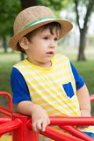 Summer portrait toddler boy in straw hat. royalty free stock images