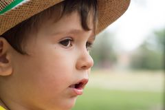 Summer portrait toddler boy in straw hat. royalty free stock photography