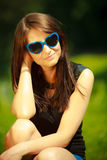 Summer. Portrait of woman in blue sunglasses outdoor Royalty Free Stock Photos
