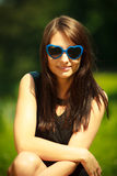 Summer. Portrait of woman in blue sunglasses outdoor Stock Images
