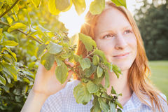 Summer Portrait of a Woman in a Park Royalty Free Stock Photos