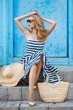 Summer portrait of a woman in a straw hat Royalty Free Stock Photos