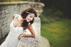 Summer portrait of young   brunette bride Stock Image