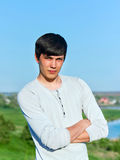 Summer portrait of a young man outdoors Royalty Free Stock Images