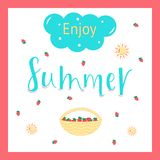 ENJOY SUMMER POSITIVE, lettering postcard. ENJOY SUMMER-season vocation, weekend, holiday badge. Summer time wallpaper. Summer vector lettering text. Happy royalty free illustration