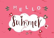 SUMMER POSITIVE, lettering postcard. SUMMER POSITIVE-season vocation, weekend, holiday badge. Summer time wallpaper. Summer vector lettering text. Happy Summer Stock Image