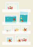 Summer postage stamps collection. Displayed in philatelic pockets with colourful designs of icecream lollies and starfish, vector illustration Royalty Free Stock Photos