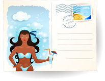 Summer postcard with attractive girl Royalty Free Stock Photos