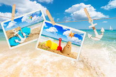 Summer Postcards. Summer holiday postcards against a beach scene Stock Photography