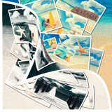 Summer Postcards. With ocean background revealed by page curl Stock Photos