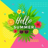 Summer Poster with Abstract Geometric Design. With Tropical Fruit, Floral and Leaves Stock Images