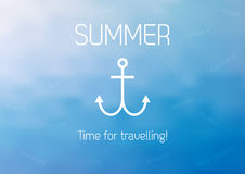 Summer poster with anchor and text Time for travelling. Summer poster with anchor, text Time for travelling and some countries with access to the sea Royalty Free Stock Photography