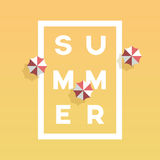 Summer poster or banner vector template with creative typography in frame and beach umbrella around. Summer holiday Stock Photography