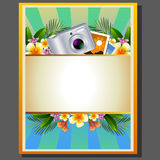 Summer poster camera. Poster with camera,photograph, and tropical flower and plants to make summer theme Stock Photos