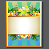Summer poster drink. Poster in summer theme with drink or beverage Stock Photo
