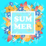 Summer poster with floral and fauna elements Royalty Free Stock Photography