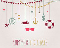 Summer poster with hanging beach elements. Handwritten text Stock Image