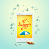 Summer poster. Hello summer, typographic inscription on white smartphone. Summer icons. Vector illustration. EPS10 Royalty Free Stock Images