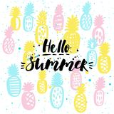 Hello summer. Vector illustration with pineapples and hand drawn lettering. Summer poster. Hello summer. Vector illustration with pineapples and hand drawn Stock Image
