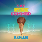 Summer poster with ice cream. Summer poster, flyer, invitation to rest. Chocolate ice cream in waffle cup on background of the sea. Line icon, design elements Stock Photos