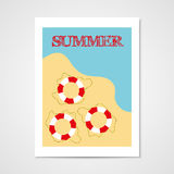 Summer poster with lifebouy Royalty Free Stock Image