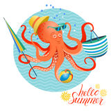 Summer poster of octopus Royalty Free Stock Photos