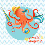 Summer poster of octopus Stock Image