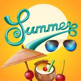 Summer poster for party, festival flyer. Banner design for invitation. Royalty Free Stock Image