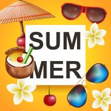 Summer poster for party, festival flyer. Banner design for invitation. Royalty Free Stock Photos