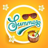 Summer poster for party, festival flyer. Banner design for invitation. Royalty Free Stock Photo