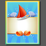 Summer poster ship. Poster with ship, shell, and fish, suitable for holiday in summer Royalty Free Stock Photos