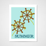 Summer poster with ship wheels. Royalty Free Stock Photo