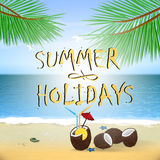 Summer poster with sky and sea. Royalty Free Stock Photos
